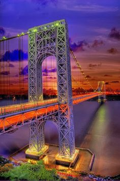 George Washington Bridge at night, New York