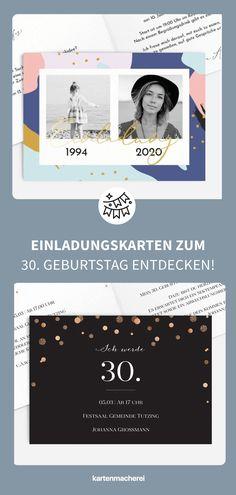 30 Jahre DU - Grund genug zum Feiern! Einladungskarten in deinem Stil! 30. Geburtstag - Zeit zu feiern! Lade mit hochwertigen und modernen Einladungskarten deine Gäste zu deiner Geburtstagsfeier ein. Lass dich von kreativen Designs und witzigen Ideen für deine Einladung inspirieren. Gestalte deine Einladungskarte zum 30. Geburtstag jetzt ganz einfach online und überrasche deine Liebsten. #kartenmacherei #geburtstag Designs, Movie Posters, Birthday Celebrations, 30 Years, Wrapping Gifts, Film Poster, Billboard, Film Posters