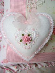 Sweet Pink Rose Sparkles Felt Ornament by sweetnshabbyroses