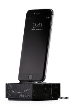 Native Union DOCK+ for iPhone or iPad Marble Edition - Genuine Marble Charging Dock with Reinforced Lightning Cable - Compatible with Most Apple Lightning Devices (Black) Cool Tech Gifts, Mac, Black Marble, Lightning, Gadgets, Charging Cable, Aircraft, Random, Marble Block