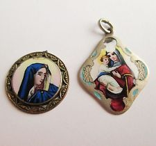 TWO ANTIQUE HAND PAINTED ENAMEL ICON VIRGIN MARY & JESUS CHILD CHARM PENDANTS