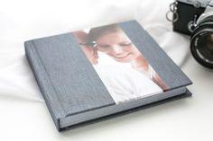 "14x14cm (5,5""), a tiny treasure. Silk textile with photostripe. A wonderful gift for wedding guests. #weddingalbum #photobook"