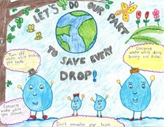 posters for water conservation Water Kids, Water Art, Save Earth Posters, Save Water Posters, Save Water Poster Drawing, Soil Conservation, Craft From Waste Material, School Art Projects, Drawing For Kids