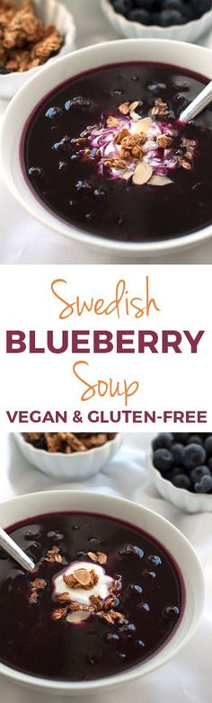 Healthier Swedish Blueberry Soup – uses just a little maple syrup to sweeten this energizing dish that can be served either warm or cold! Naturally vegan, gluten-free, and dairy-free.