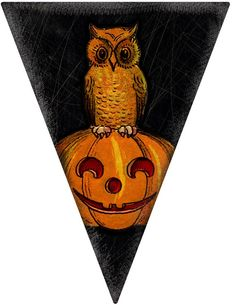 Primitive Halloween Pennant / Handmade / Art Adhered To Wood / Complete With Rusty Tin Wire Hanger Which Adds To It's Charm Halloween Labels, Halloween Prints, Halloween Pictures, Vintage Halloween, Halloween Stuff, Halloween Printable, Halloween Pumpkins, Halloween Ideas, Halloween
