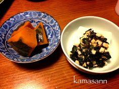 ほっこり(o^^o) - 57件のもぐもぐ - かぼちゃの炊いたん・豆腐の長芋、モロヘイヤ乗せ by kamasann