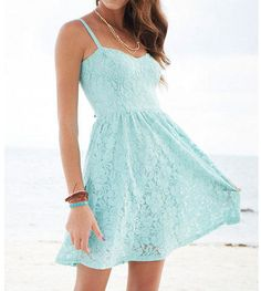 I am looking for light blue, summery dresses. Straps are a must. This color exactly