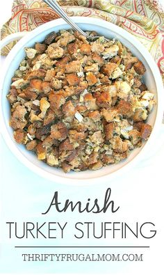 The traditional main dish served at every Amish wedding, this easy Amish Turkey Stuffing is super tasty! It's perfect for using up leftover turkey and it freezes well, too. #700Reasons #sponsored @honestturkey