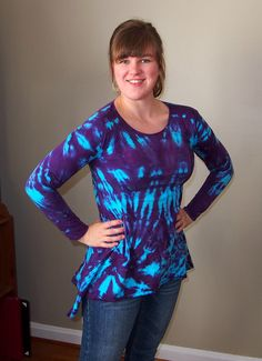 Tunic with Long Sleeves and Asymmetric hem Tie Dyed in Turquoise and Purple by inspiringcolor on Etsy https://www.etsy.com/listing/92315640/tunic-with-long-sleeves-and-asymmetric