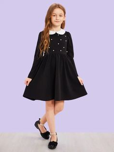 To find out about the Girls Contrast Peter Pan Collar Pearl Detail Dress at SHEIN, part of our latest Girls Dresses ready to shop online today! Grunge Style, Soft Grunge, Grunge Outfits, Girl Outfits, Peter Pan, Timberland Boots, Vans Authentic, Birkenstock, Girls Dresses Online