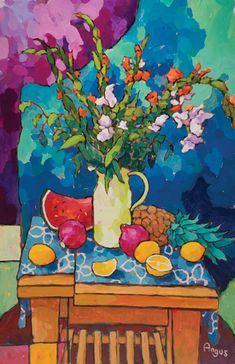 Angus, Blue and Orange With Poms and Pineapple, acrylic, 36 x - Southwest Art Magazine Paintings I Love, Colorful Paintings, Arte Van Gogh, Wilson Art, Southwest Art, Art For Art Sake, Painting Inspiration, Sculpture Art, Flower Art