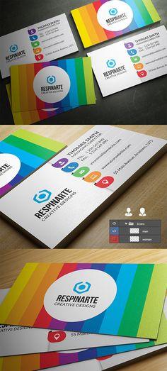 Colorful Creative Business Card #businesscards #businesscarddesign #psdtemplates #corporatedesign
