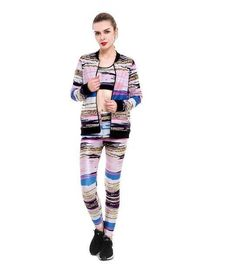 Tracksuits Colorfull Strips Printed Pocket Hoodies+Legging +Bra 3 Piece Set