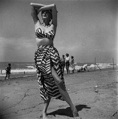 Dorian Leigh, Cuba 1952 Dorian is wearing swimwear by Joset Walker.