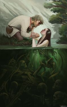 811x1301, 146 Kb / озеро,скелеты,русалка,смерть