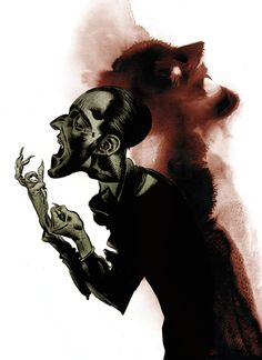 Dave McKean has designed this image to promote an exhibit Ndevoted to Gothic Literature.  The image is inspired by Frankenstein, Dracula and The Strange Case of Dr. Jekyll and Mr. Hyde, and brilliantly captures the drama and intensity of the Gothic imagination.