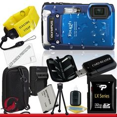 Olympus Tough TG-820 iHS Digital Camera (Blue) 32GB Package 6 by Olympus. $500.00. Package Contents:  1- Olympus Tough TG-820 iHS Digital Camera (Blue) w/ All Supplied Accessories 1- 32GB SDHC Class 10 Memory Card   1- USB Memory Card Reader  1- Rechargeable Lithium Ion Replacement Battery  1- Weather Resistant Carrying Case w/Strap  1- Pack of LCD Screen Protectors  1- Camera & Lens Cleaning Kit System  1- Mini Flexible Table Top Tripod 1- Memory Card Wallet 1- Flo...