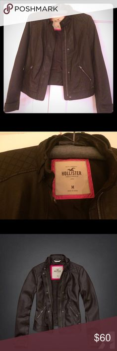 Brown faux leather Hollister jacket. Dark brown faux leather jacket. New without tags. Hollister Jackets & Coats