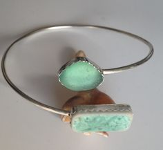 SEA GLASS & SEA TILE BANGLEL Hand crafted sterling silver.  Designed & created by She Sells Sea Glass.  https://www.facebook.com/groups/beachcrafts/ #seaglass #englishseaglass #shesellsseaglass #handmade #imadeit #madeintasmania #bangle #jewelry