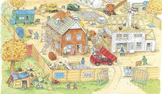 TOUCH this image: An Interactive Image De bouwplaats by Jet de Bruyne by jetdebruyne Toddler Preschool, Preschool Activities, Picture Boards, Picture Story, Language Development, Happy Colors, Kids Playing, Illustrators, Vintage World Maps