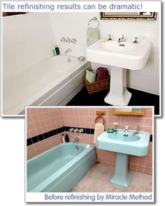 Paint Ceramic Tile. Before and after pics... http://www.bathroom-paint.net/painting-bathroom-tiles.php