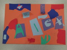 """Matisse-inspired name collage project, in """"Spotlight on Famous Artists"""" (ages 7-14)"""