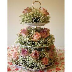 china cake stand three tired with flowers wedding table decoration
