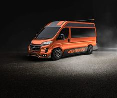 Knaus puts some sports car aggression into two new concept camper vans Ducato Camper, Fiat Ducato, Sprinter Van Conversion, Camper Van Conversion Diy, General Motors, Land Rover Defender, Caravan Salon, Orange Vans, Van Design