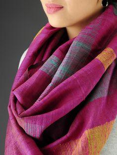 Fuschia-Multi-Color Handwoven Jamdani Silk Stole