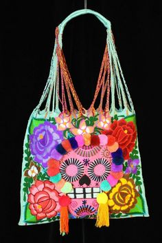 Details About Hobo Bag Day Of The Dead Multi Color Hand Woven Sugar Skull Mayan Mexico Chiapas