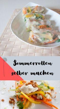 Sommerrollen selber machen - vegan und lecker mit Mango, Tofu und Möhren. So einfach und schnell sind die low carb Summerrolls. Vegan Recipes, Vegan Food, Tacos, Mexican, Ethnic Recipes, Mango, Low Carb, Party, Vegan Cheese Sauce