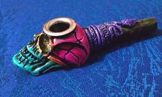 Colorful Snake Skull Tobacco Smoking Pipe Small Bowl Metal Lip Glass Substitute