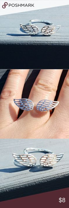 Angel wing ring,  angel ring,  angel jewelry This is a brand new angel wing ring. It is one size fits all. It is silver.  Bundle any three  $8 items and offer me  $16 and I will accept!  Jewelry Rings