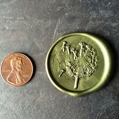 Moss green extra large dandelion wax   Seal sticker  on Etsy, $21.99