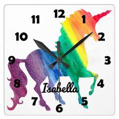 Beautiful Rainbow Unicorn Personalized Kids Girly Square Wall Clock