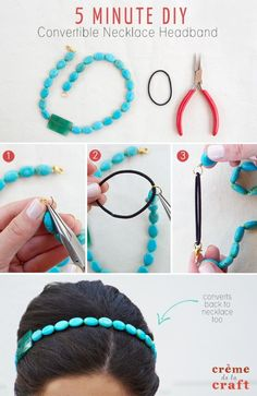 50 Crafts for Teens To Make and Sell Crafts to Make and Sell - 5 Minute DIY Convertible Necklace Headband - Cool and Cheap Craft Projects and DIY Ideas for Teens and Adults to Make and Sell - Fun, Cool… Diy Crafts Makeup, Diy Makeup, Makeup Hacks, Makeup Ideas, Headband Tutorial, Diy Headband, Beaded Headbands, Handmade Headbands, Diy Tutorial