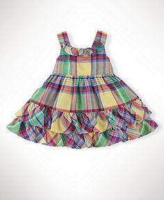 Ralph Lauren Baby Dress, Baby Girls Linen Plaid Dress - Kids Dresses & Dresswear - Macys