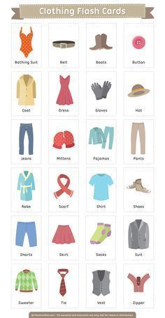 Free printable clothing flash cards. Download them in PDF format at http://flashcardfox.com/download/clothing-flash-cards/