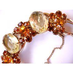 ,D&E citrine topaz and burnt orange rhinestone bracelet verified vintag...  €120