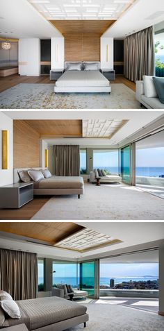 In this modern master bedroom, timber paneling wraps from behind the bed and up onto the ceiling, while the bedroom opens up to a private terrace with expansive views.