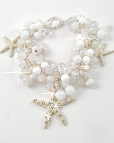 Starfish-Sea-Life-Charm-Bracelet-White-Beads...for beach theme wedding