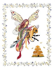 Queen Bee  Flower Fantasy Fairy Art   8 x by fairyblossomdesigns, $20.00