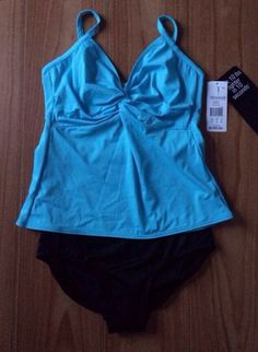 Miraclesuit 16 DD Cup Two Piece Swimsuit Blue Top Black Bottoms Underwire NWT