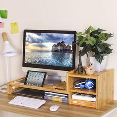 SONGMICS #Bamboo #Monitor Stand Riser #Laptop #Cellphone #TV #Printer #Stand with 2-tier #Desktop #Storage #Organizer