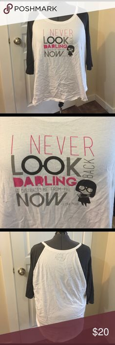 Edna Mode Quote Raglan 3/4 Sleeve Plus Size 5 Tee Disney for Torrid Edna Mode quote T-shirt, plus size 5 (fits 30/32w). Gently used, worn maybe once and washed. Dress form is approx plus size 24/26w Torrid Tops Tees - Long Sleeve