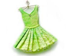 Spring Green Fashion Paper Dress Paper Art via Etsy Paper Dress Art, Paper Art, Paper Dresses, Paper Crafts, Shoe Template, Dress Template, Origami Owl Fall, Origami Turtle, Little Dresses