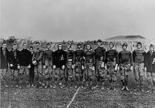 Eisenhower (2nd from left) and Omar Bradley (2nd from right) were members of the 1912 West Point football team.