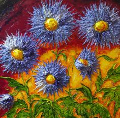 Blue Flowers Original Impasto Oil Painting