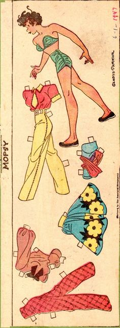 (⑅ ॣ•͈ᴗ•͈ ॣ)♡                                                             ✄Paper Doll The Paper Collector: Mopsy, 1947