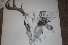 Grey Ink Deer Head, Fish And Flying Duck Tattoos : Duck Tattoos Duck Hunting Tattoos, Duck Tattoos, New Tattoos, Tattoos For Guys, Cool Tattoos, Hunting Drawings, Amazing Tattoos, Outdoor Tattoo, Bow Tattoo Designs